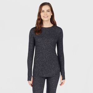 Cuddl Duds Sweater Knit Crew Neck Thermal Top Gray